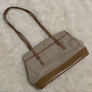 Etienne Aigner Tan Canvas Shoulder Bag